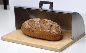 boite à pain BergHOFF avec base en bois et couvercle en inox