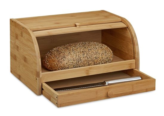 Relaxdays Boîte à pain tiroir couteau caisse à pain en bambou bois couvercle HxlxP: 21 x 40,5 x 28 cm, nature