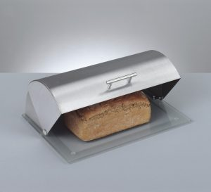 boite à pain Zeller avec base en verre et couvercle en inox
